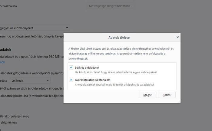 Adatok törlése Firefoxban