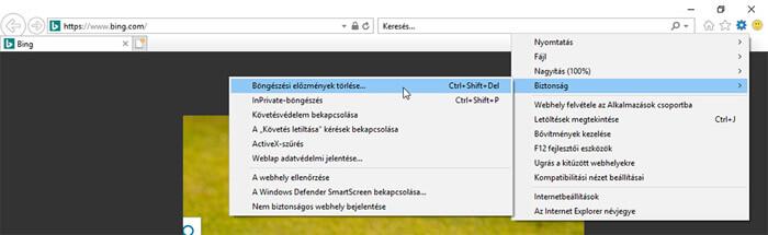 Böngésző gyorsítótár törlés Internet Explorerben