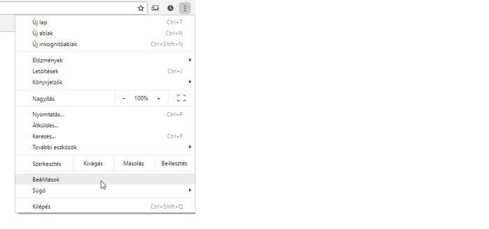Google Chrome beállítások