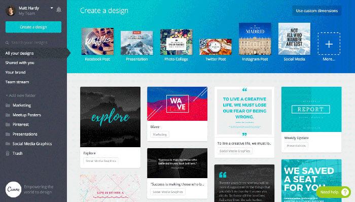 Canva online képszerkesztő program működési felülete