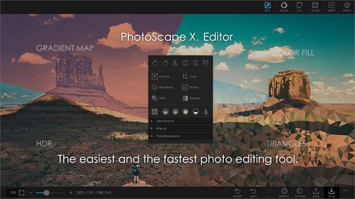 A Photoscape X online képszerkesztő weboldala