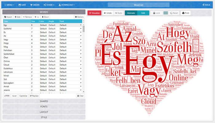 WordArt szófelhő készítő szoftver képernyőképe
