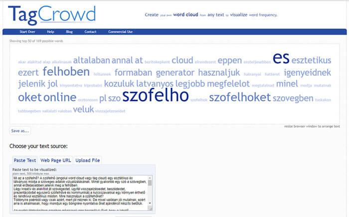 TagCrowd szófelhő generáló szoftver nyitólap
