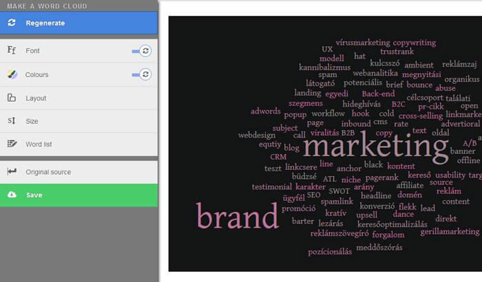 WordItOut képernyőkép a szófelhő készítő programról