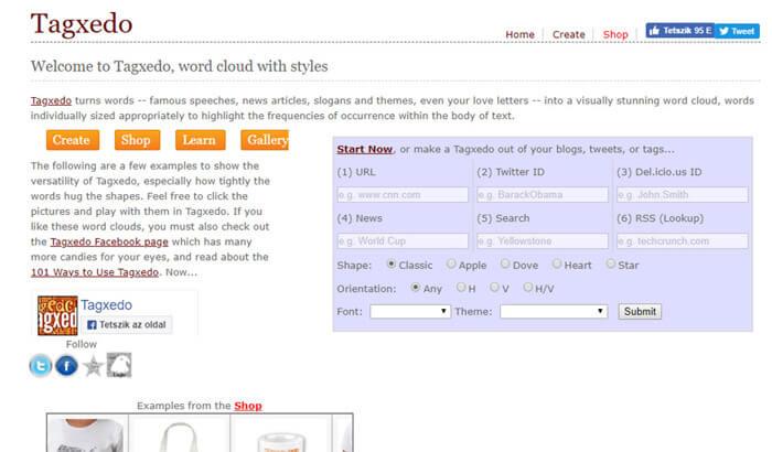 Tagxedo képernyőkép illetve screenshot