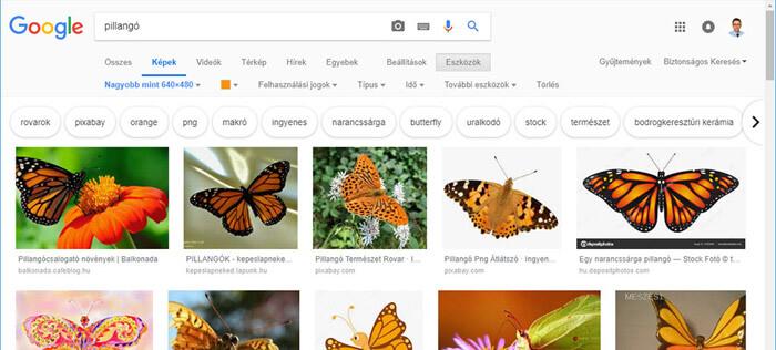 Google keresés kép alapján bővített beállítási lehetőségek