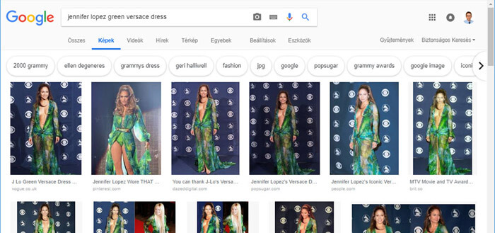 Jennifer Lopez green versace dress kép