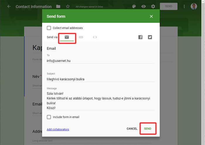 Google űrlap e-mail-ben történő továbbküldése megadott címzetteknek