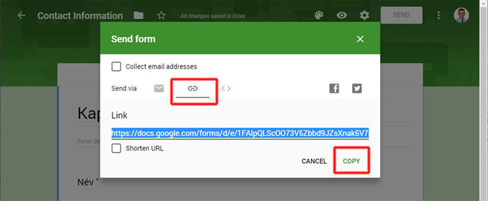 Google Űrlap megosztási link elérhetősége és másolása