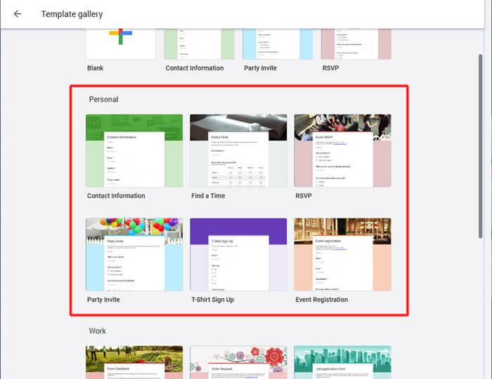 A sablonok megjelenése a Google Űrlapok felületén