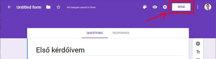 Google Űrlap továbbküldése és megosztása