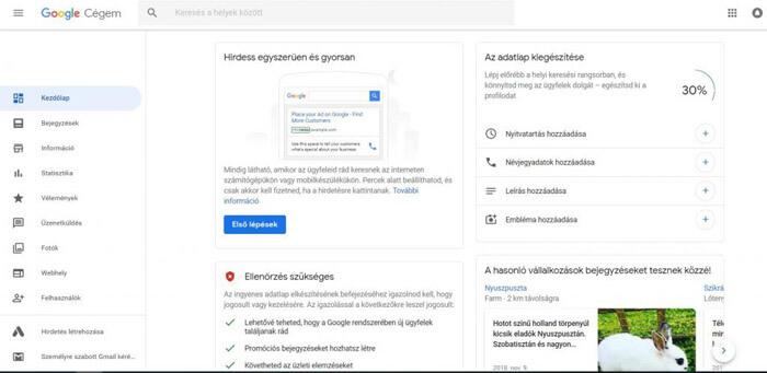 Google Cégem adatok közzététele és optimalizálása