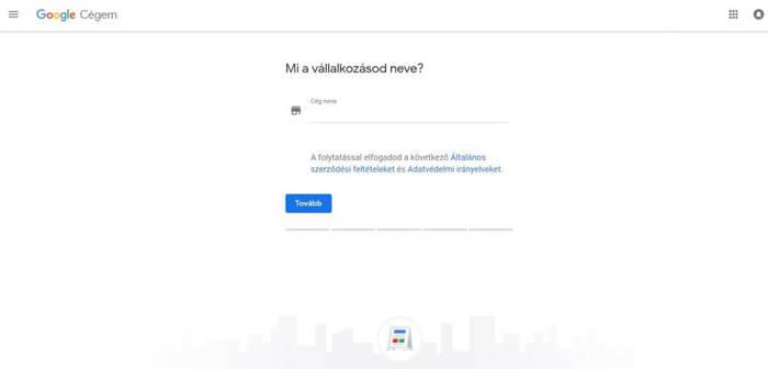 Google Cégem regisztráció első lépés