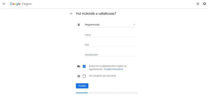 Második lépés a Google Cégem regisztráció során
