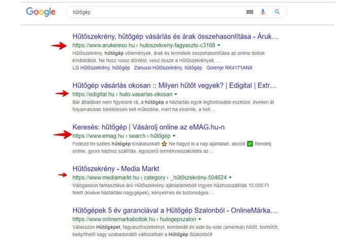Google találati lista legjobb cégek