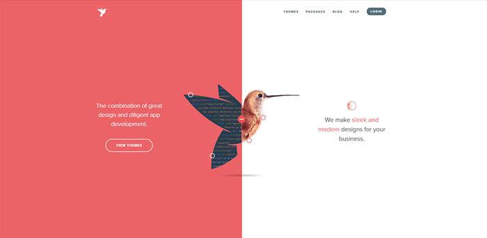 Osztott képernyős design egy weboldalon