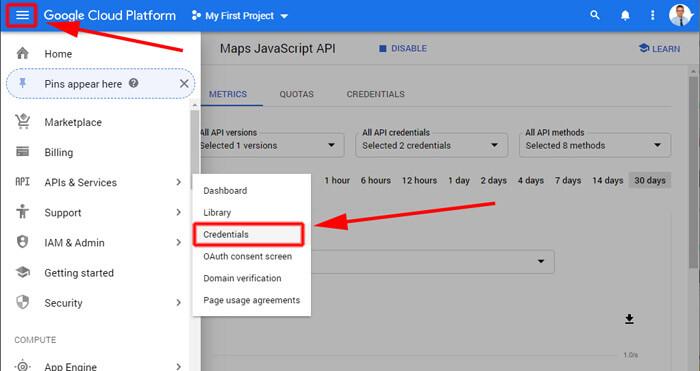 Google Maps Javascript API regisztráció 2