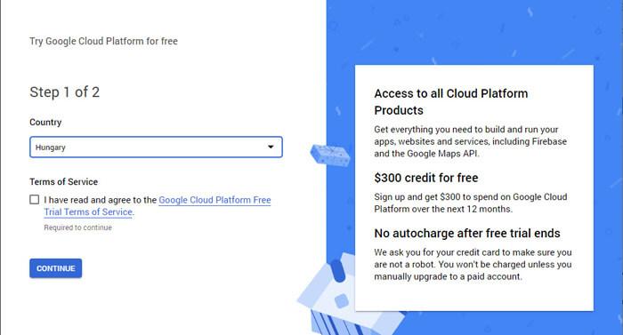 Google Cloud Platform regisztráció első lépések