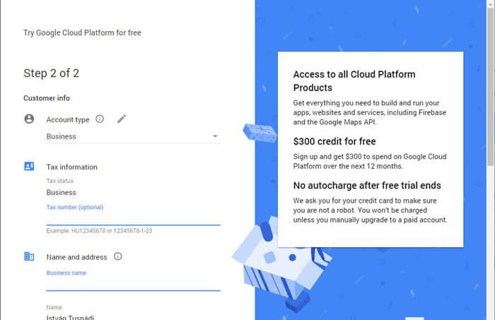 Google Cloud Platform regisztráció második lépés