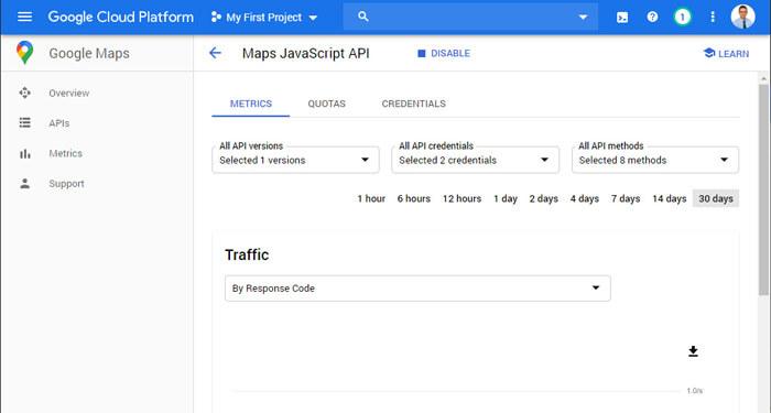 Google Maps Javascript API regisztráció
